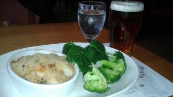 Seafood Casserole and Samuel Adams Draft, Legal Seafood Boston