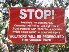 Sign on Santa Barbara Zoo fence