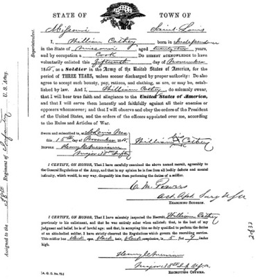 Cathay Williams - Enlistment Paperwork